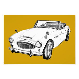 Austin Healey 300 Sports Car Illustration Photo Print