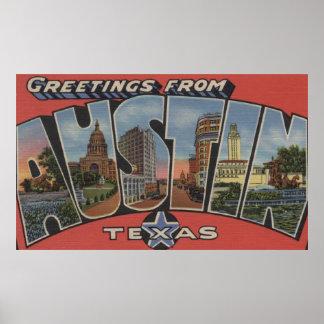 Austin, letra ScenesAustin, TX de TexasLarge Posters