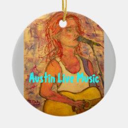 Austin Live Music Girl Ceramic Ornament