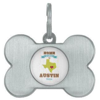 Austin, mapa de Tejas - casero es donde está el co Placas Mascota