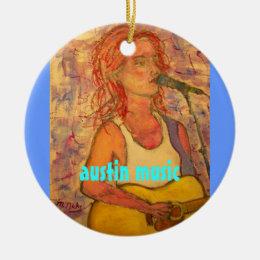 austin music art ceramic ornament