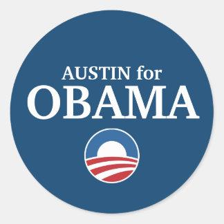 AUSTIN para el personalizado de Obama su ciudad Etiquetas Redondas