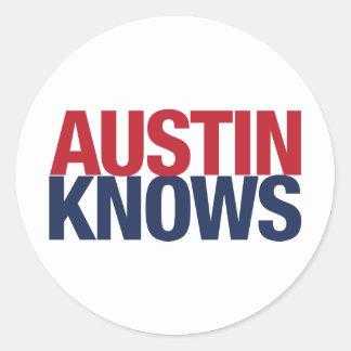 Austin sabe pegatina redonda
