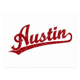 Austin script logo in red post card