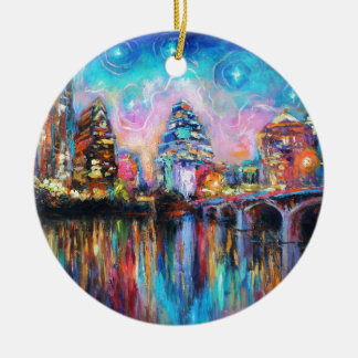 Austin Skyline at night cityscape Art gifts Double-Sided Ceramic Round Christmas Ornament