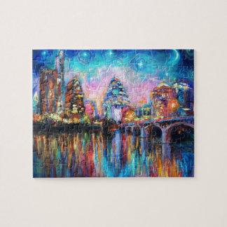 Austin Skyline at night cityscape Art gifts Jigsaw Puzzle