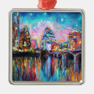 Austin Skyline at night cityscape Art gifts Ornament