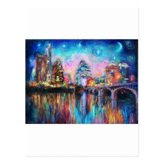 Austin Skyline at night cityscape Art gifts Postcard