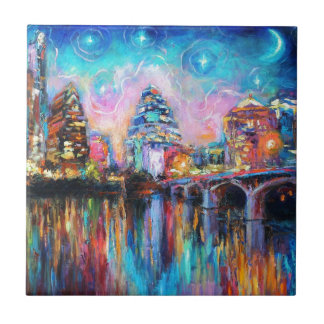 Austin Skyline at night cityscape Art gifts Small Square Tile