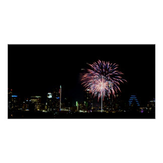 Austin Skyline during the 4th of July Poster