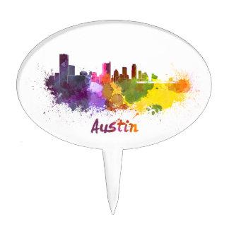 Austin skyline in watercolor decoraciones de tartas
