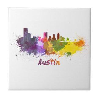 Austin skyline in watercolor teja cerámica