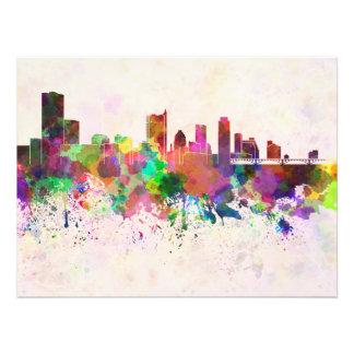 Austin skyline in watercolor background fotografia