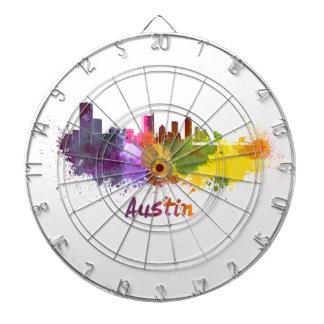 Austin skyline in watercolor tablero de dardos