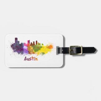 Austin skyline in watercolor etiquetas de equipaje