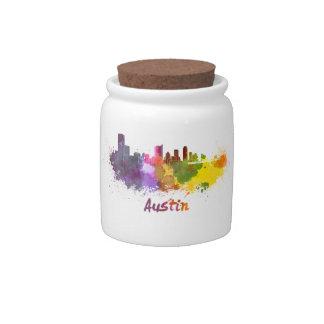 Austin skyline in watercolor jarras para caramelos