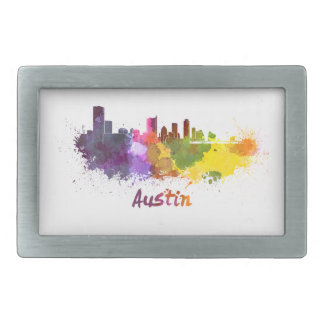 Austin skyline in watercolor hebilla cinturon rectangular