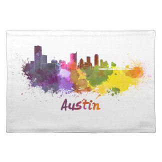 Austin skyline in watercolor manteles individuales