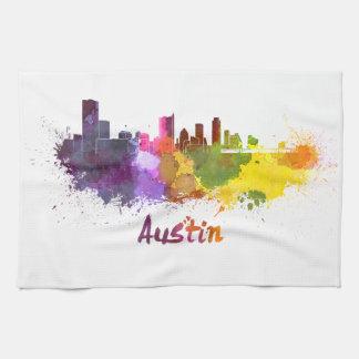 Austin skyline in watercolor toalla