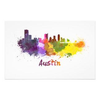 Austin skyline in watercolor papelería de diseño