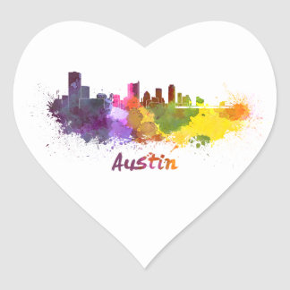 Austin skyline in watercolor calcomanía corazón