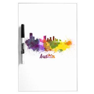 Austin skyline in watercolor tablero blanco
