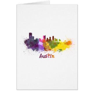 Austin skyline in watercolor felicitacion