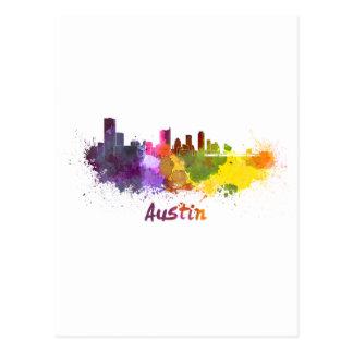 Austin skyline in watercolor tarjetas postales