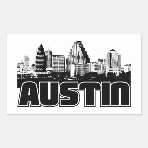 Austin Skyline Rectangular Stickers