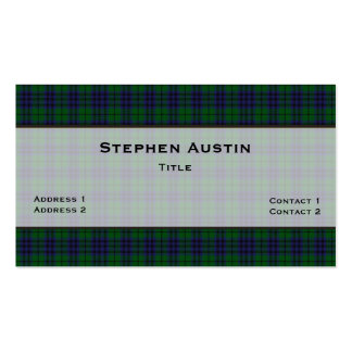 Austin Tartan Plaid Custom Business Card