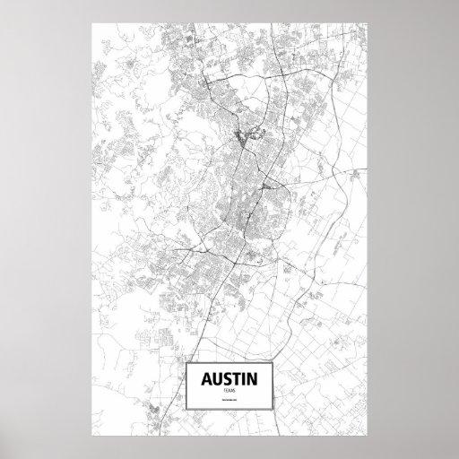 Austin, Tejas (negro en blanco) Posters