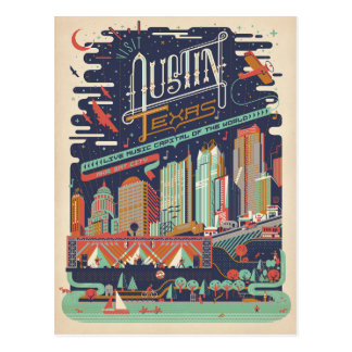 Austin, Texas - AKA: Bat City Postcard