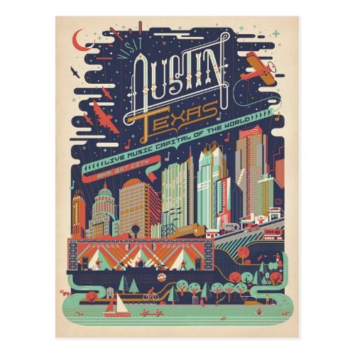 Austin Texas _ AKA Bat City Postcard