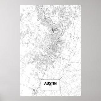 Austin, Texas (black on white) Poster