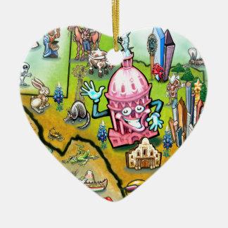 Austin Texas Cartoon Map Ceramic Ornament