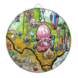 Austin Texas Cartoon Map Dartboard With Darts