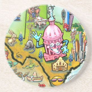 Austin Texas Cartoon Map Drink Coaster