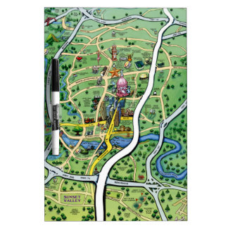 Austin Texas Cartoon Map Dry Erase Board