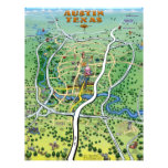 Austin Texas Cartoon Map Flyer