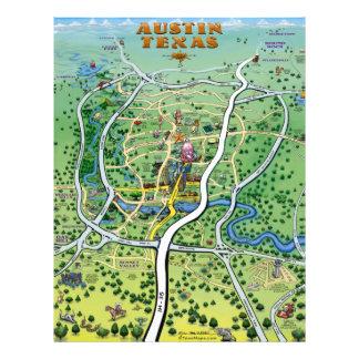 Austin Texas Cartoon Map Flyer
