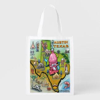 Austin Texas Cartoon Map Grocery Bags