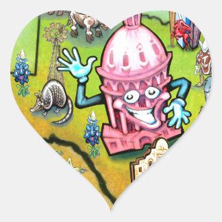 Austin Texas Cartoon Map Heart Sticker