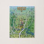 Austin Texas Cartoon Map Jigsaw Puzzle