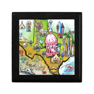 Austin Texas Cartoon Map Keepsake Box