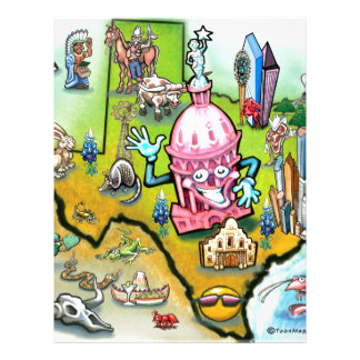 Austin Texas Cartoon Map Letterhead