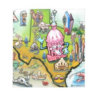 Austin Texas Cartoon Map Notepad