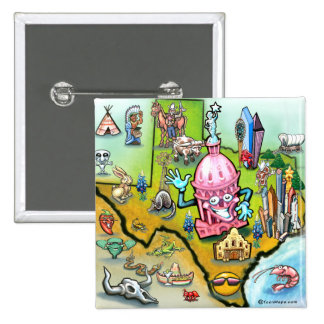 Austin Texas Cartoon Map Pinback Button