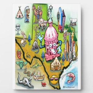 Austin Texas Cartoon Map Plaque