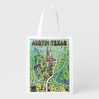 Austin Texas Cartoon Map Reusable Grocery Bag