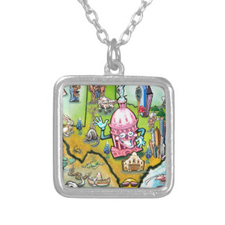 Austin Texas Cartoon Map Silver Plated Necklace